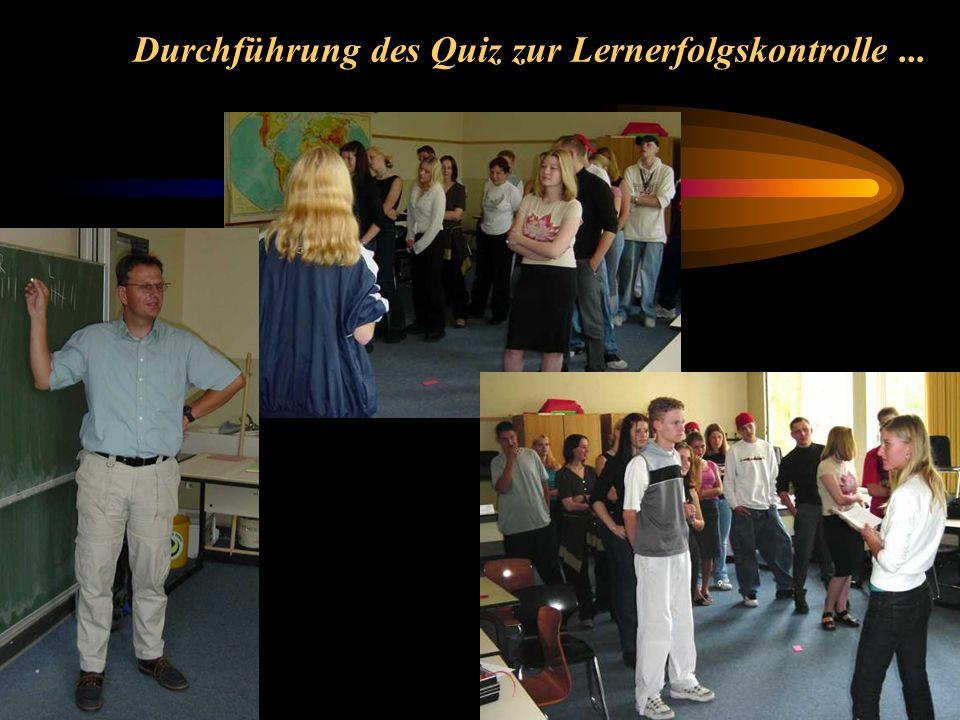 Durchführung des Quiz zur Lernerfolgskontrolle ...