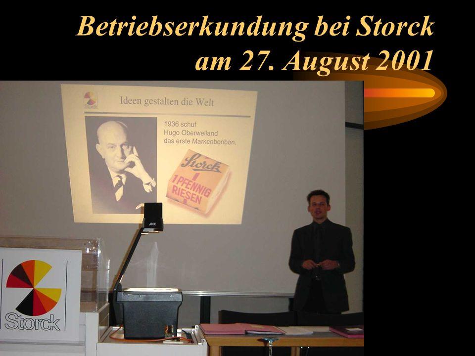 Betriebserkundung bei Storck am 27. August 2001