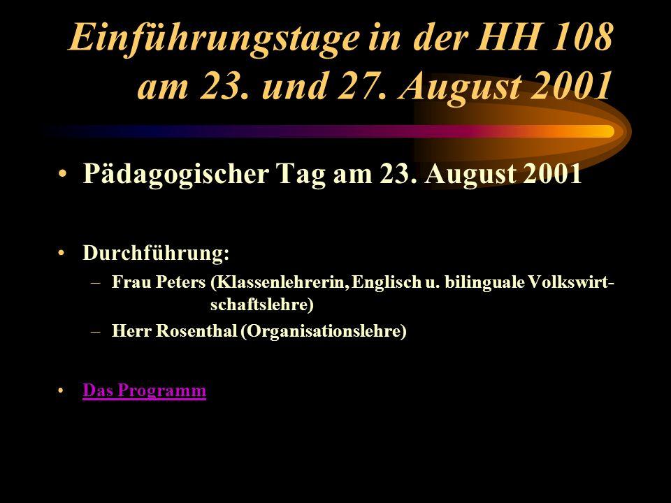 Einführungstage in der HH 108 am 23. und 27. August 2001