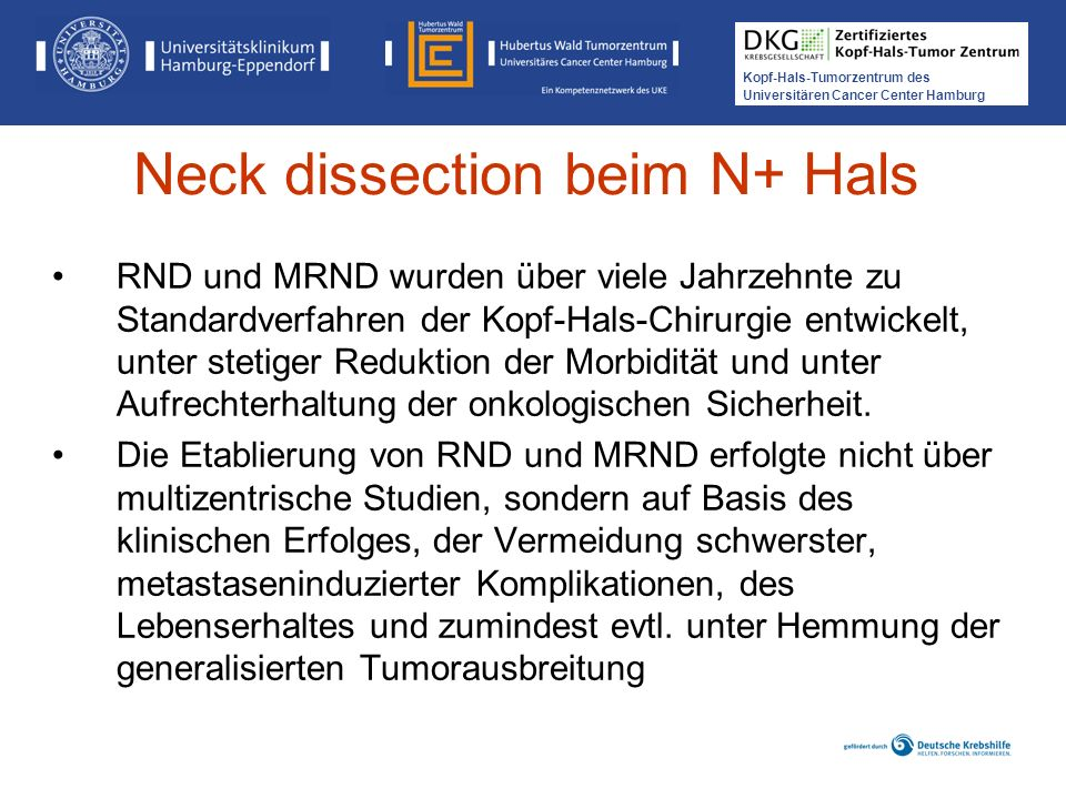 Neck dissection beim N+ Hals