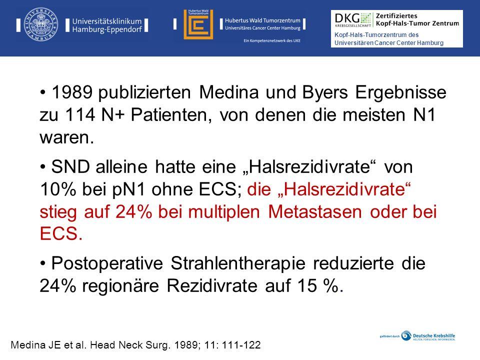 1989 publizierten Medina und Byers Ergebnisse zu 114 N+ Patienten, von denen die meisten N1 waren.