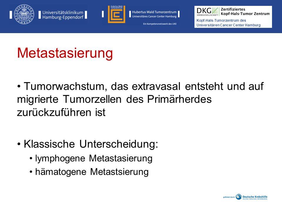 Metastasierung Tumorwachstum, das extravasal entsteht und auf migrierte Tumorzellen des Primärherdes zurückzuführen ist.