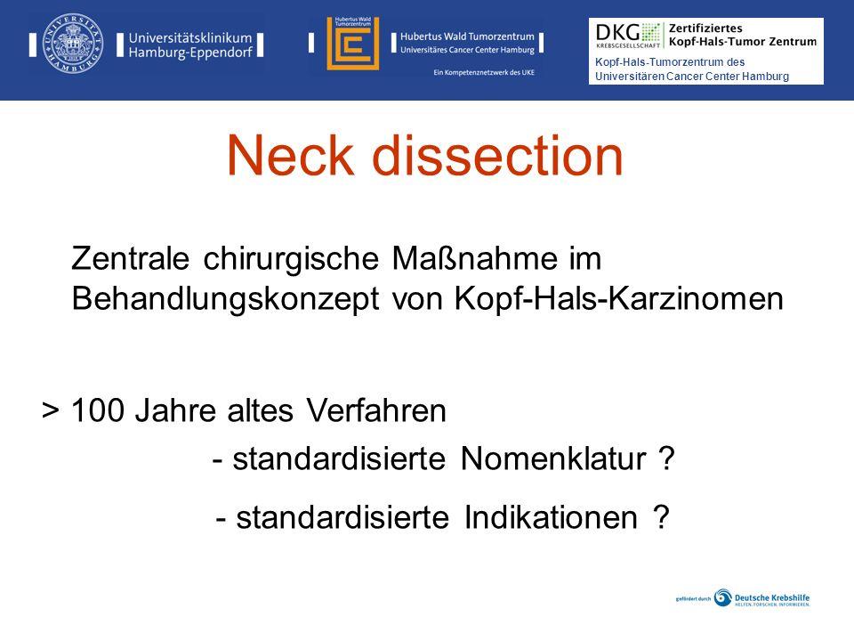 Neck dissection Zentrale chirurgische Maßnahme im Behandlungskonzept von Kopf-Hals-Karzinomen. > 100 Jahre altes Verfahren.