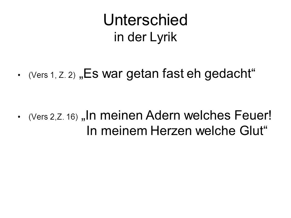 Unterschied in der Lyrik
