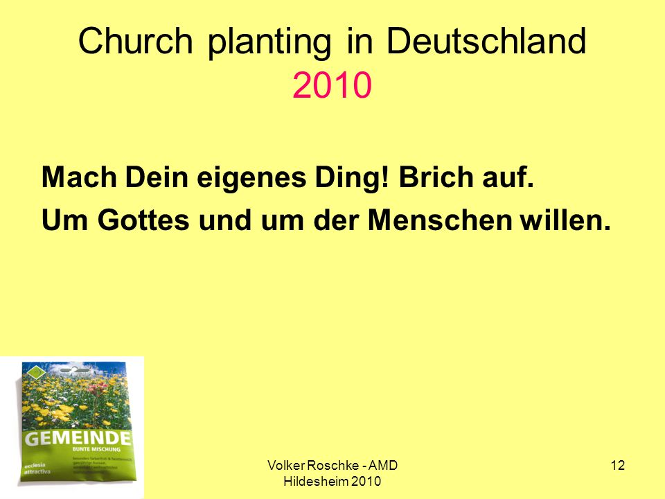 Church planting in Deutschland 2010