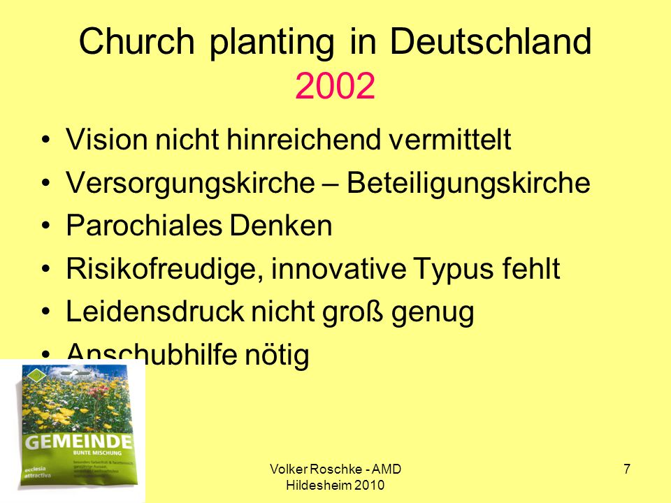 Church planting in Deutschland 2002