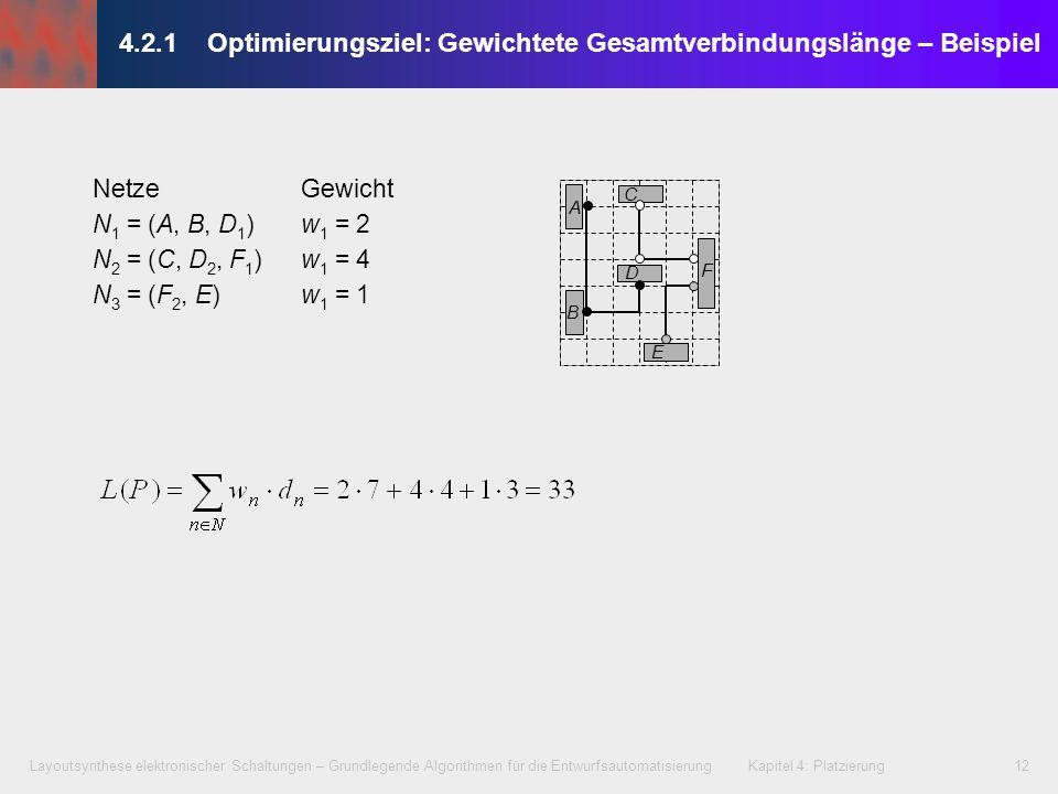 4.2.1 Optimierungsziel: Gewichtete Gesamtverbindungslänge – Beispiel
