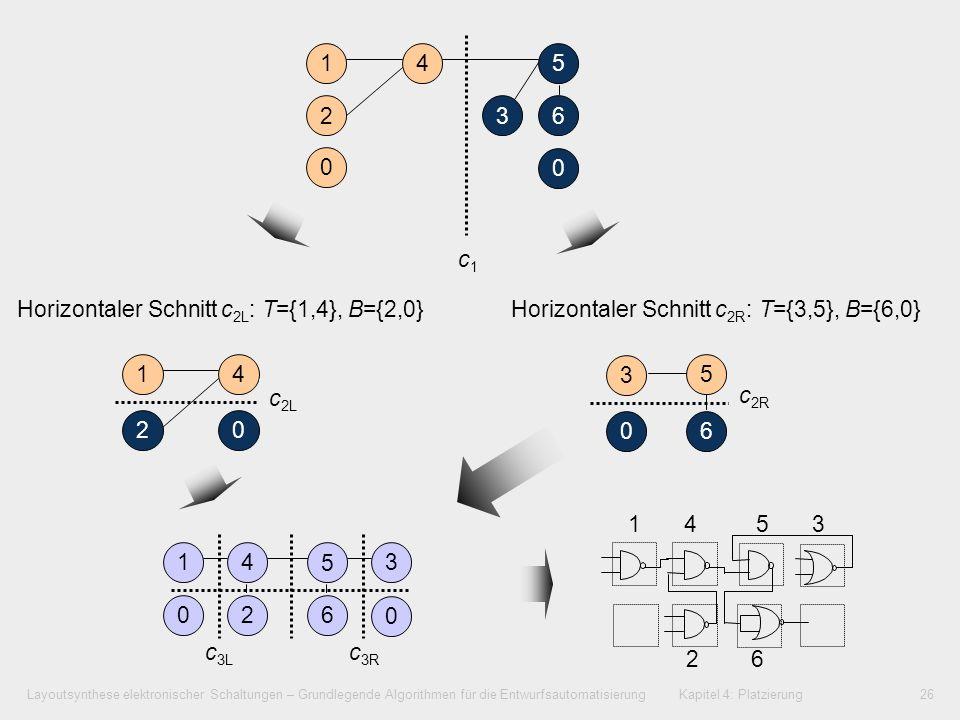 1 4. 5. 2. 3. 6. c1. Horizontaler Schnitt c2L: T={1,4}, B={2,0} Horizontaler Schnitt c2R: T={3,5}, B={6,0}