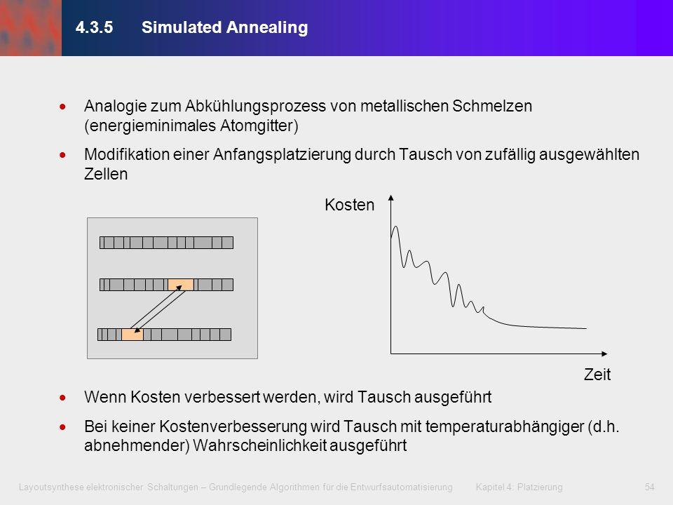 4.3.5 Simulated AnnealingAnalogie zum Abkühlungsprozess von metallischen Schmelzen (energieminimales Atomgitter)