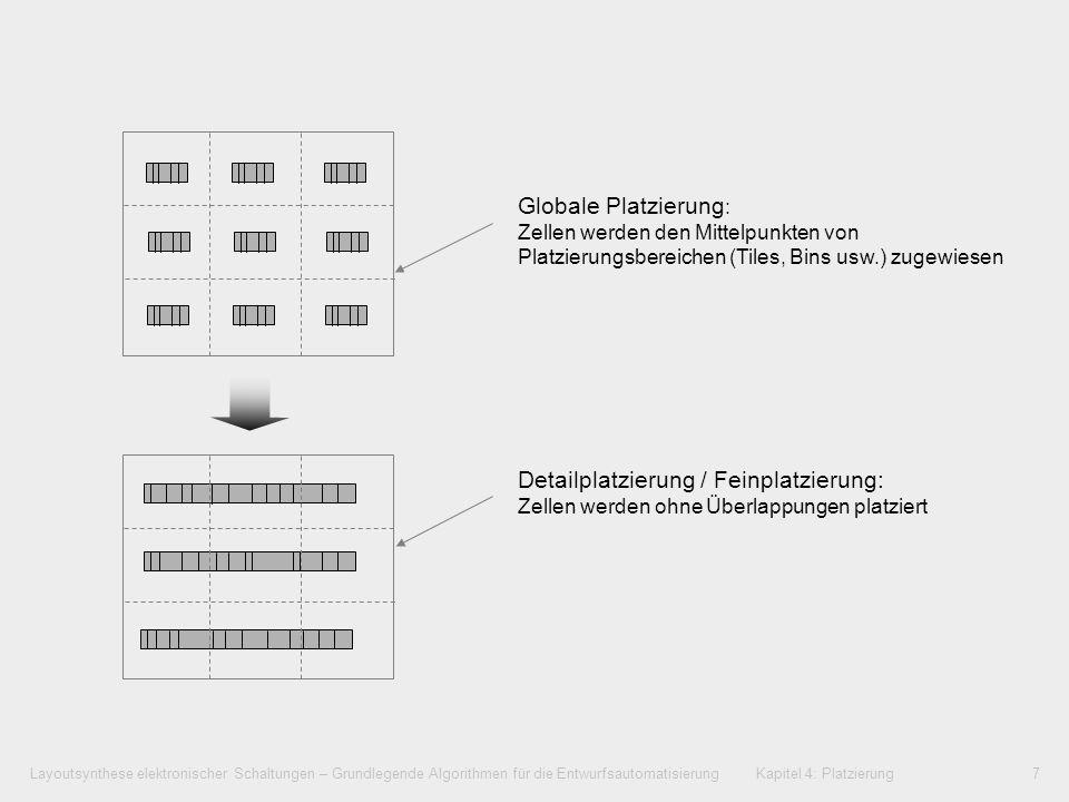 Globale Platzierung: Zellen werden den Mittelpunkten von Platzierungsbereichen (Tiles, Bins usw.) zugewiesen