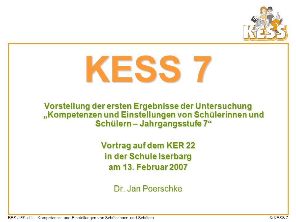"""KESS 7 Vorstellung der ersten Ergebnisse der Untersuchung """"Kompetenzen und Einstellungen von Schülerinnen und Schülern – Jahrgangsstufe 7"""