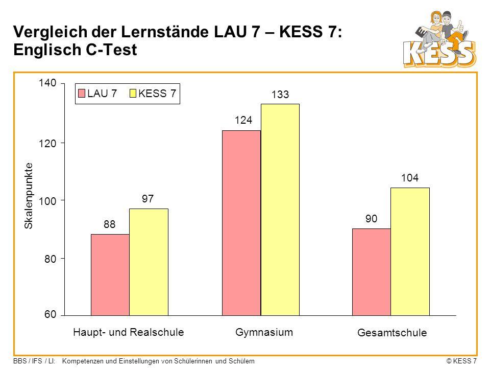 Vergleich der Lernstände LAU 7 – KESS 7: Englisch C-Test