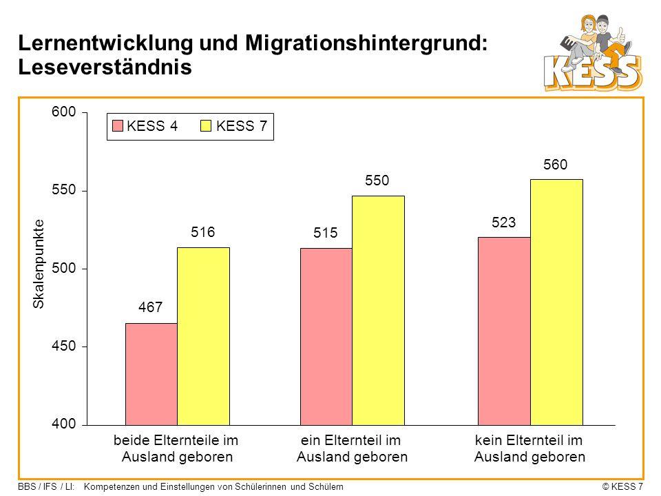 Lernentwicklung und Migrationshintergrund: Leseverständnis