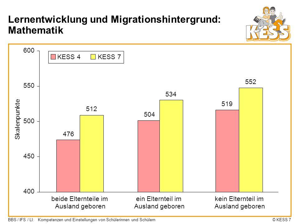 Lernentwicklung und Migrationshintergrund: Mathematik