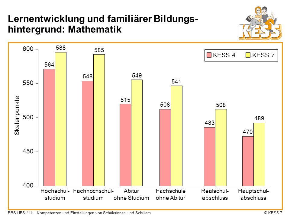 Lernentwicklung und familiärer Bildungs-hintergrund: Mathematik