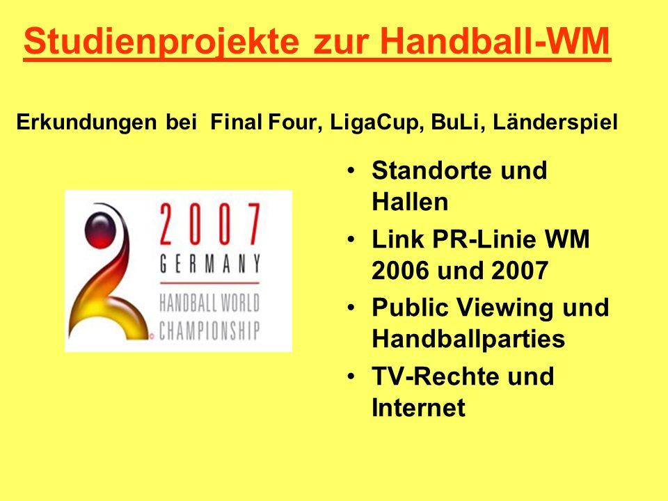 Studienprojekte zur Handball-WM Erkundungen bei Final Four, LigaCup, BuLi, Länderspiel
