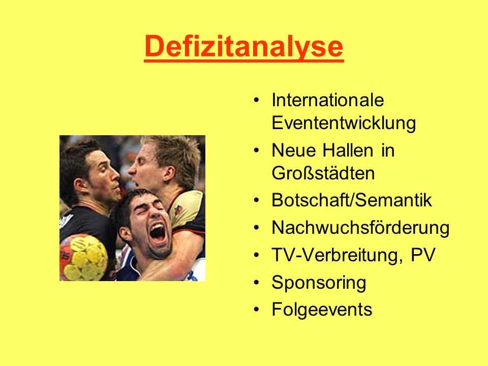 Defizitanalyse Internationale Evententwicklung