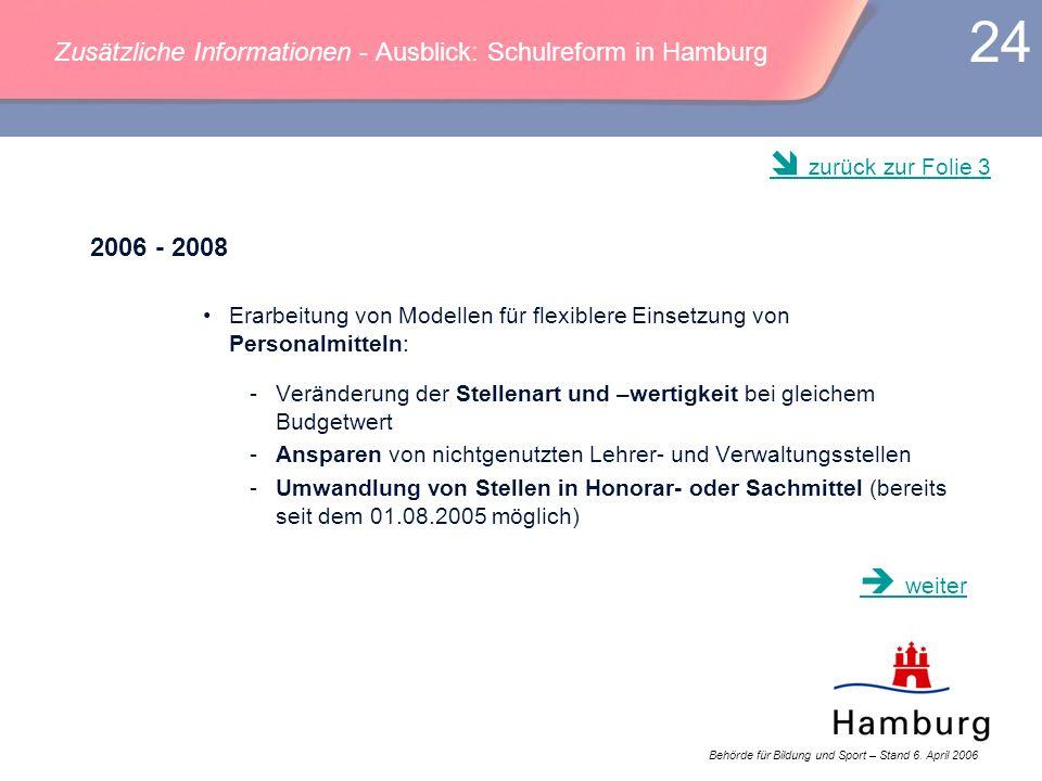Zusätzliche Informationen - Ausblick: Schulreform in Hamburg