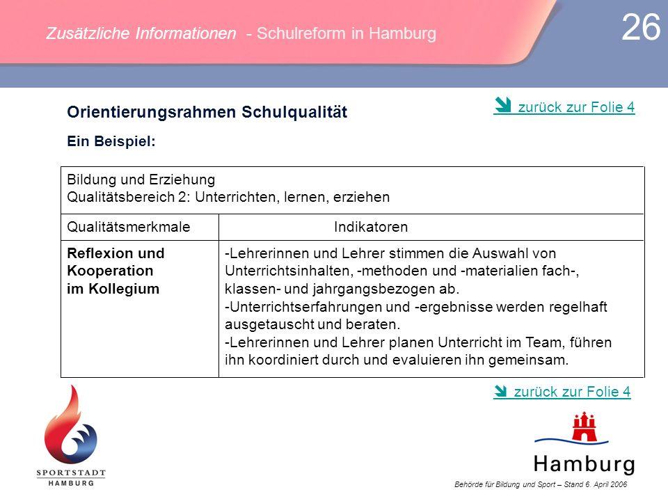 Zusätzliche Informationen - Schulreform in Hamburg