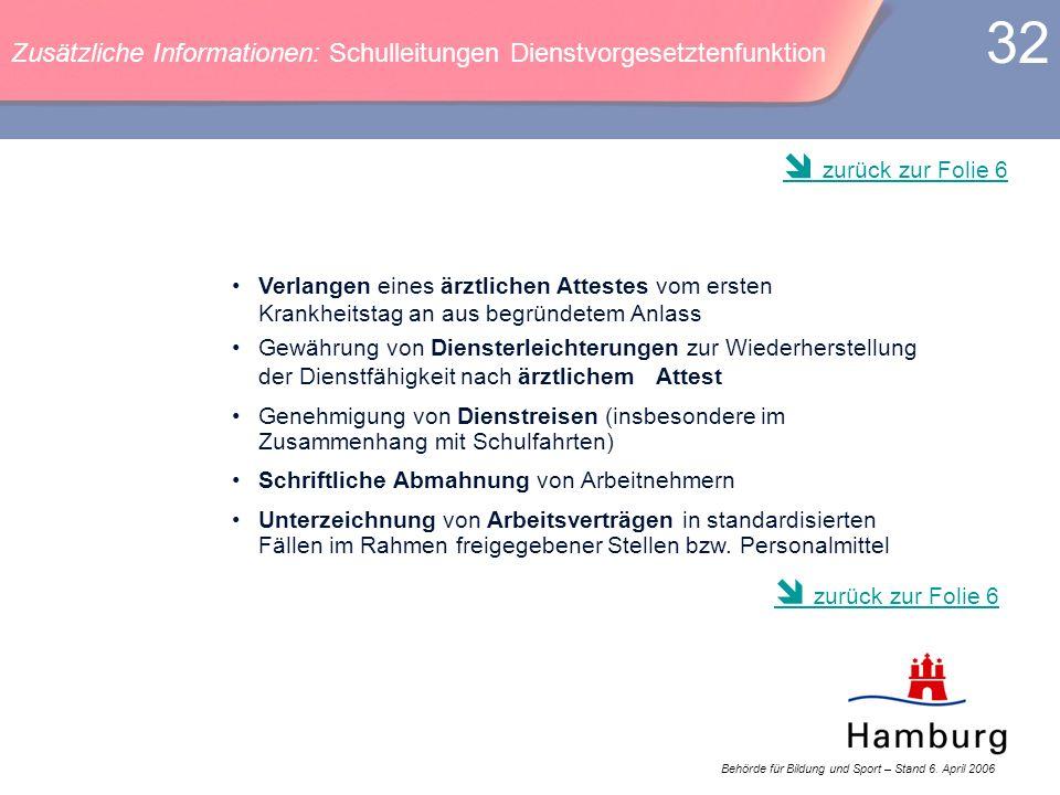 Zusätzliche Informationen: Schulleitungen Dienstvorgesetztenfunktion