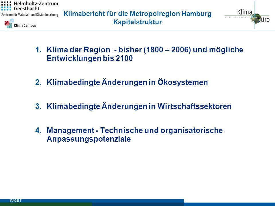 Klimabericht für die Metropolregion Hamburg Kapitelstruktur