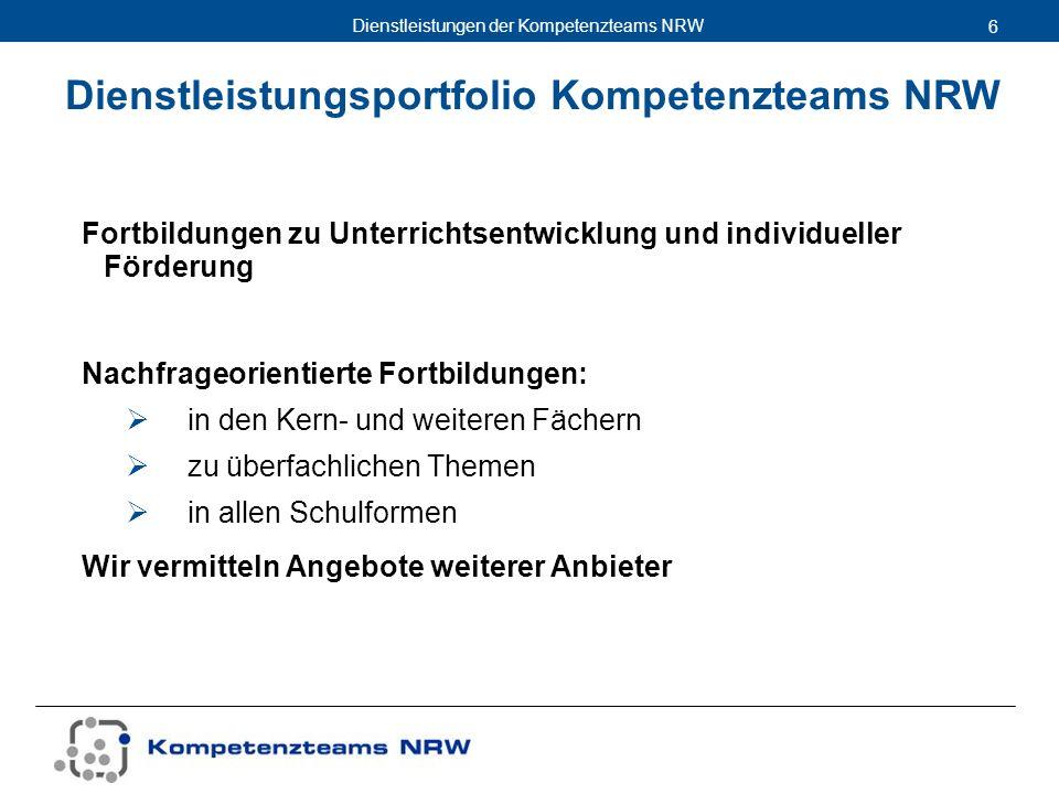 Dienstleistungsportfolio Kompetenzteams NRW