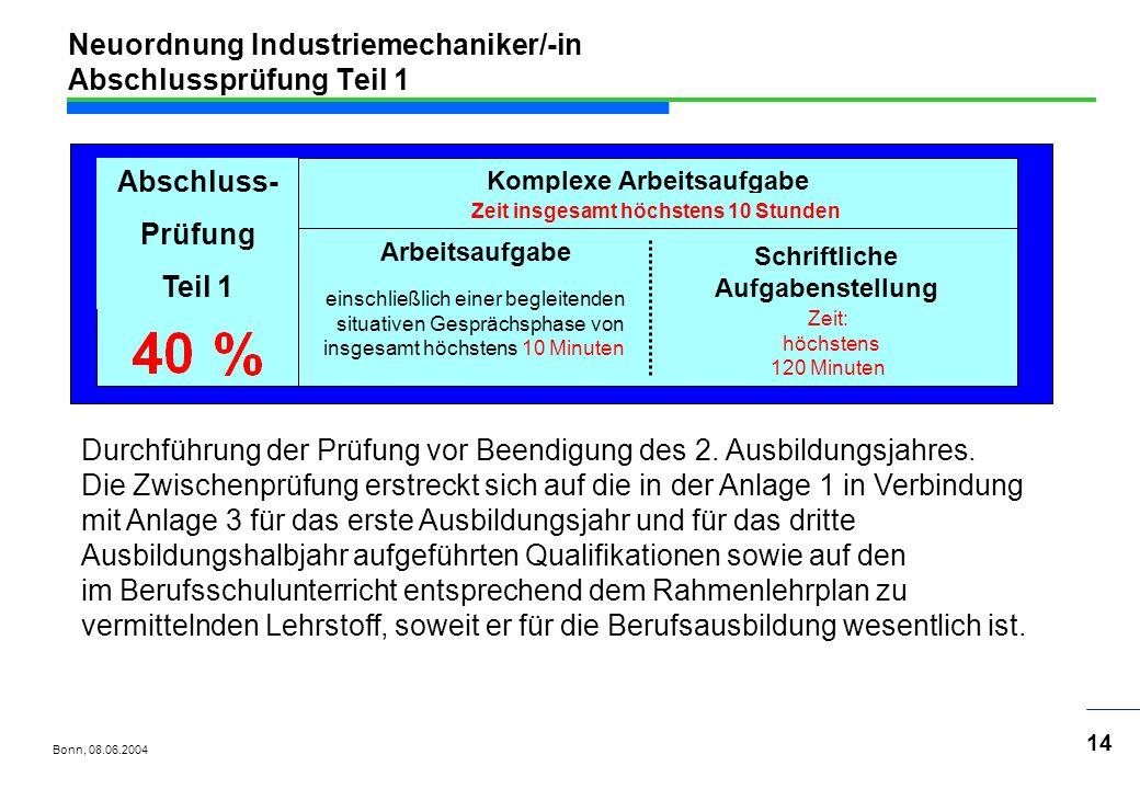 Neuordnung Industriemechaniker/-in Abschlussprüfung Teil 1