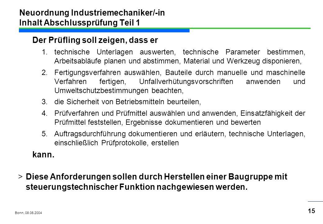 Neuordnung Industriemechaniker/-in Inhalt Abschlussprüfung Teil 1