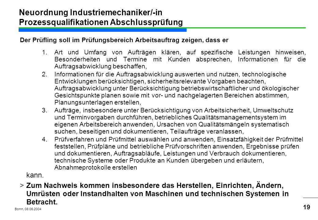 Neuordnung Industriemechaniker/-in Prozessqualifikationen Abschlussprüfung