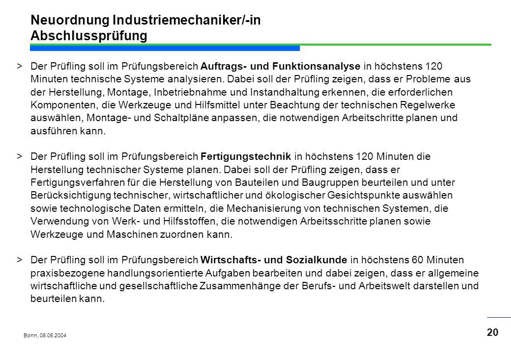 Neuordnung Industriemechaniker/-in Abschlussprüfung