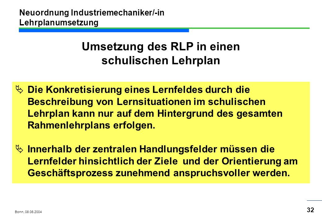 Neuordnung Industriemechaniker/-in Lehrplanumsetzung