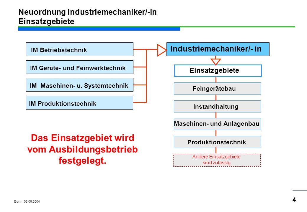 Neuordnung Industriemechaniker/-in Einsatzgebiete