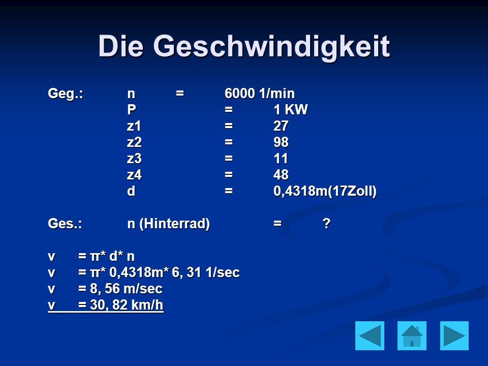 Die Geschwindigkeit Geg.: n = 6000 1/min P = 1 KW z1 = 27 z2 = 98