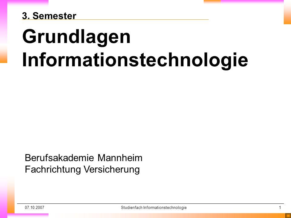 Studienfach Informationstechnologie
