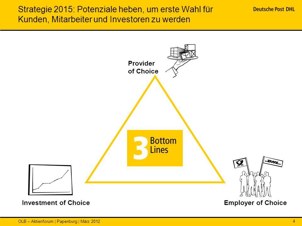 Strategie 2015: Potenziale heben, um erste Wahl für Kunden, Mitarbeiter und Investoren zu werden