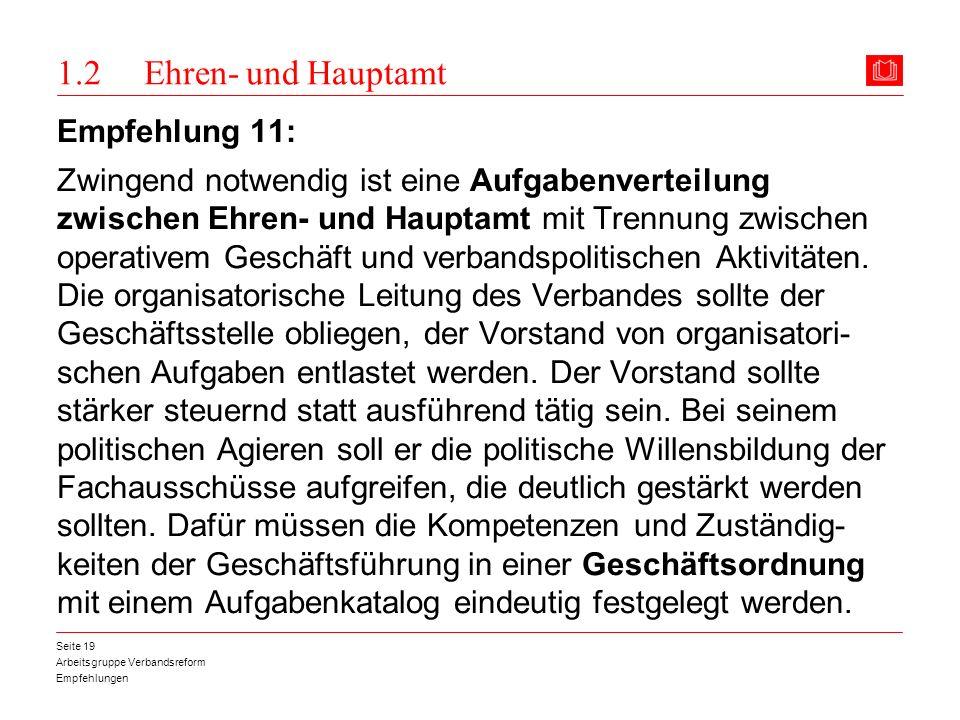 1.2 Ehren- und Hauptamt Empfehlung 11: