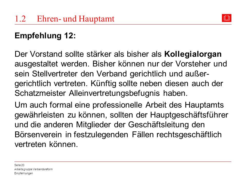1.2 Ehren- und Hauptamt Empfehlung 12: