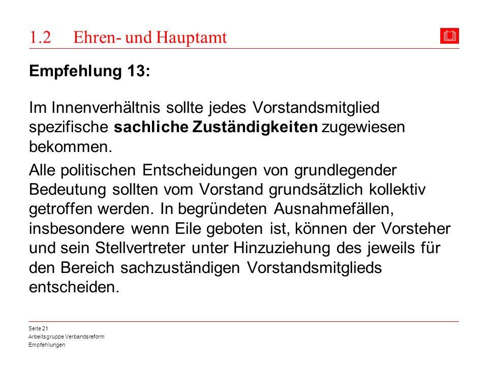 1.2 Ehren- und Hauptamt Empfehlung 13: