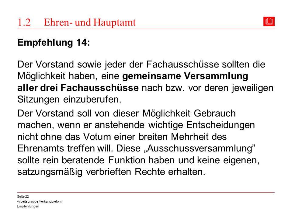 1.2 Ehren- und Hauptamt Empfehlung 14: