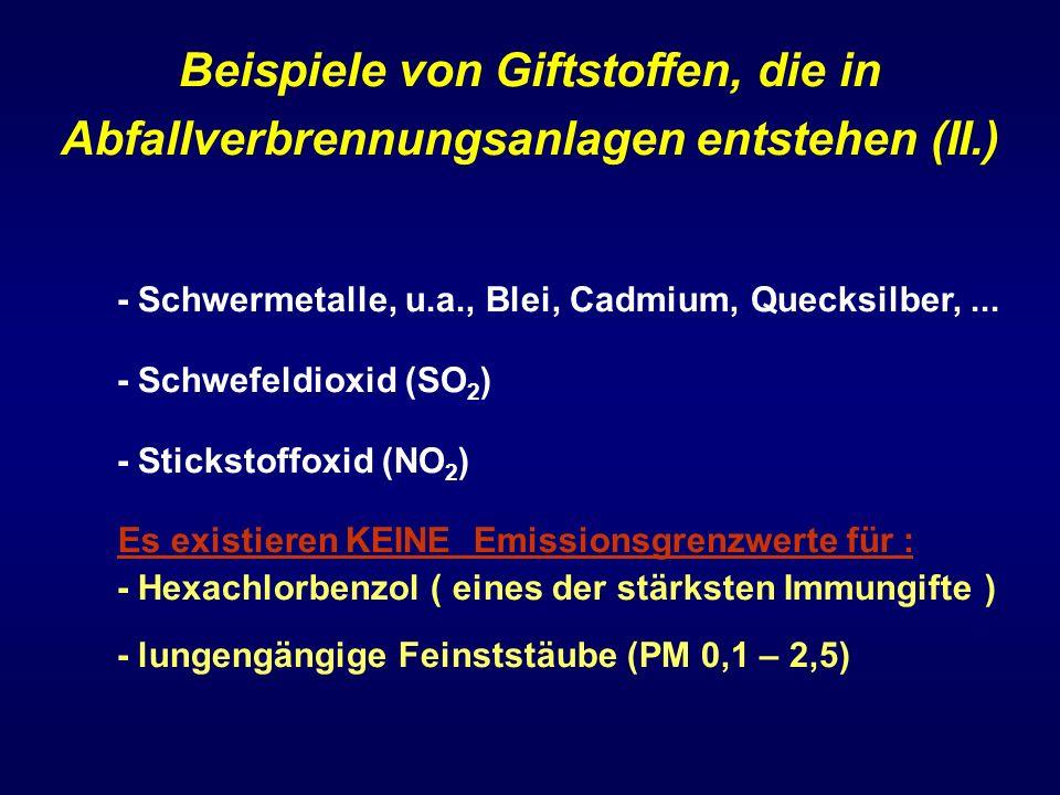 Beispiele von Giftstoffen, die in Abfallverbrennungsanlagen entstehen (II.)