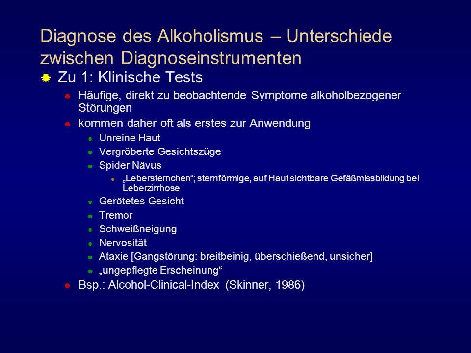Diagnose des Alkoholismus – Unterschiede zwischen Diagnoseinstrumenten