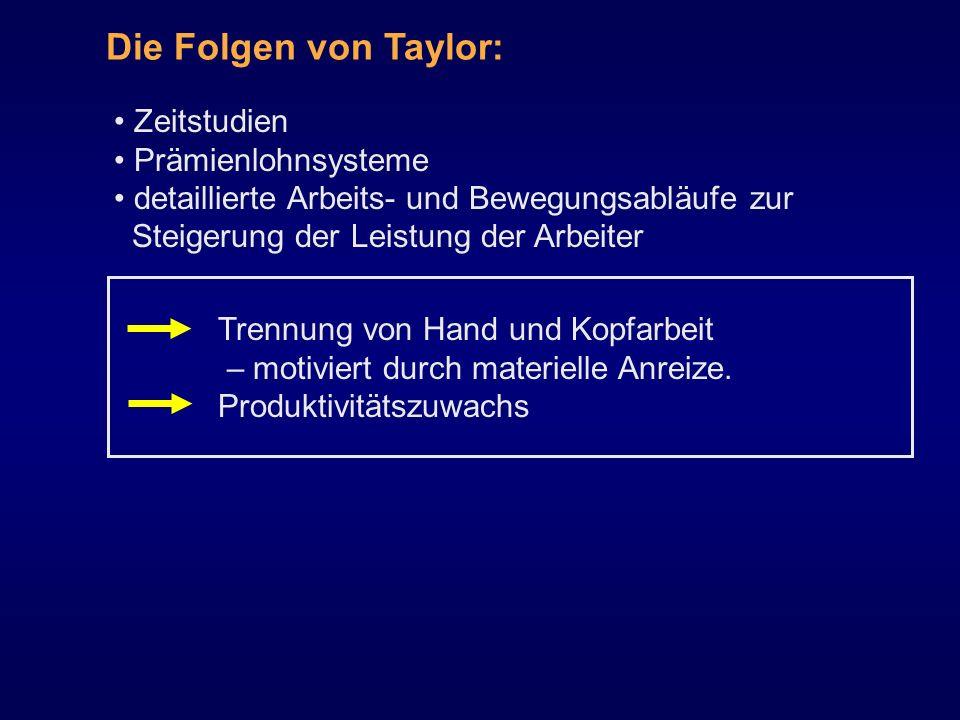 Die Folgen von Taylor: Zeitstudien Prämienlohnsysteme
