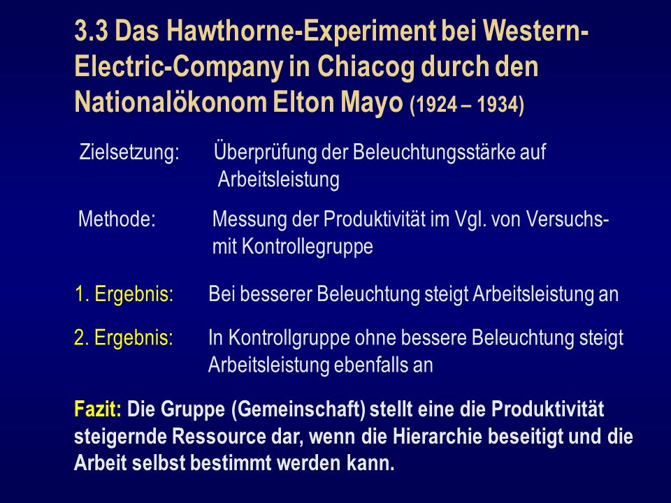 3.3 Das Hawthorne-Experiment bei Western-Electric-Company in Chiacog durch den Nationalökonom Elton Mayo (1924 – 1934)