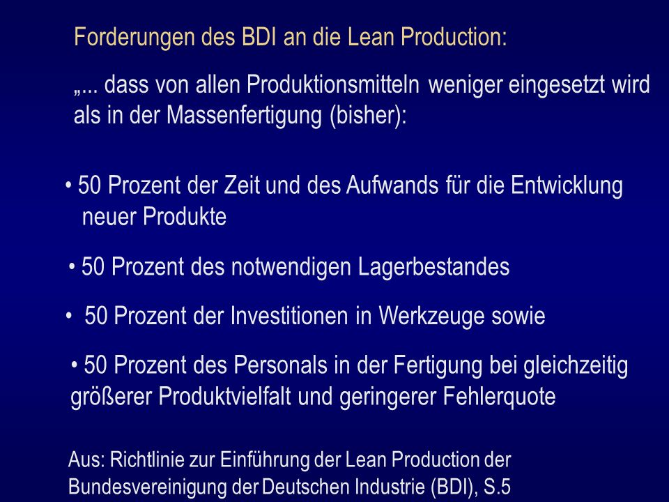 Forderungen des BDI an die Lean Production:
