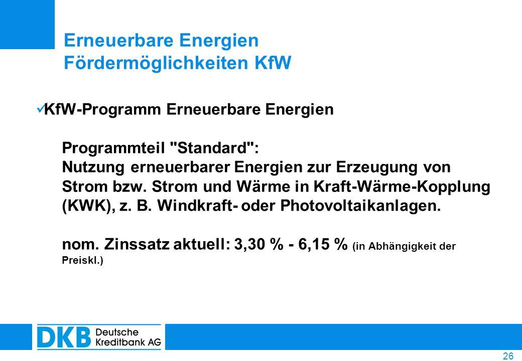 Erneuerbare Energien Fördermöglichkeiten KfW