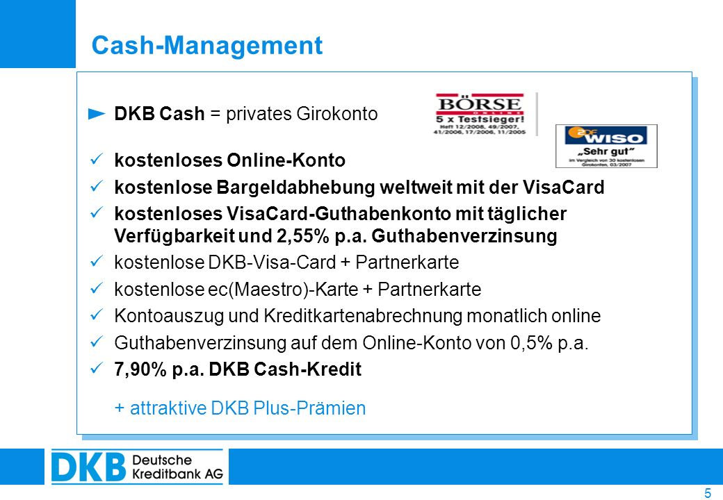 Cash-Management DKB Cash = privates Girokonto kostenloses Online-Konto