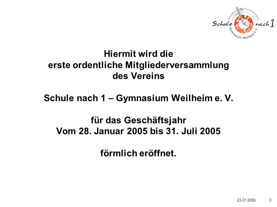 Hiermit wird die erste ordentliche Mitgliederversammlung des Vereins Schule nach 1 – Gymnasium Weilheim e. V. für das Geschäftsjahr Vom 28. Januar 2005 bis 31. Juli 2005 förmlich eröffnet.
