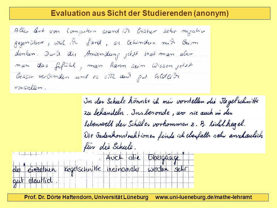 Evaluation aus Sicht der Studierenden (anonym)