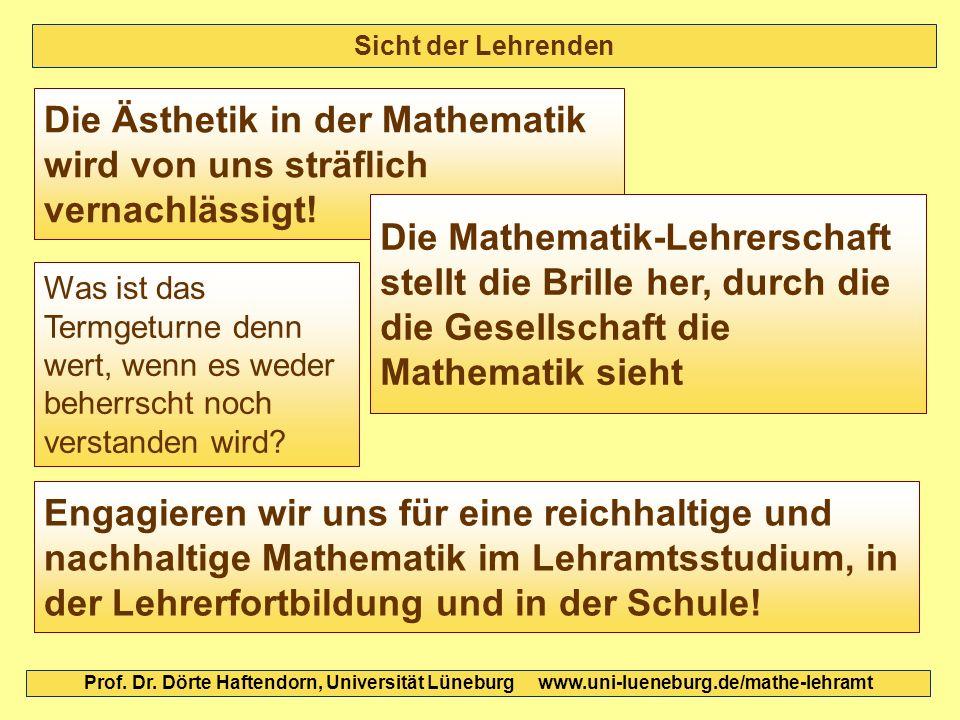 Die Ästhetik in der Mathematik wird von uns sträflich vernachlässigt!