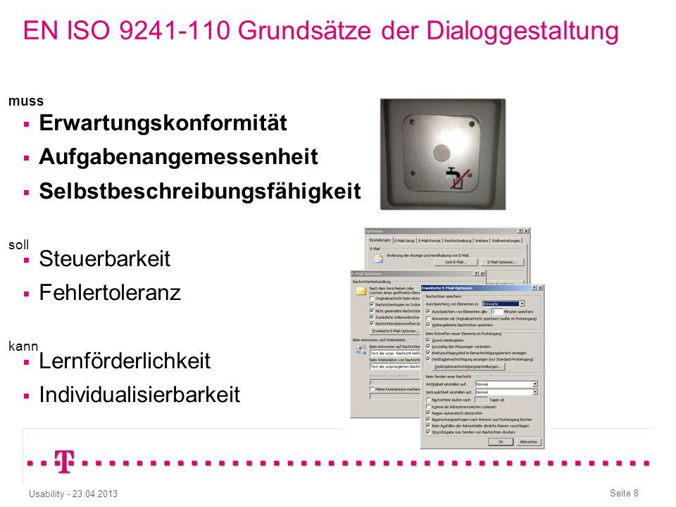 EN ISO 9241-110 Grundsätze der Dialoggestaltung